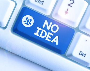 "Image of keyboard key saying ""No Idea"""