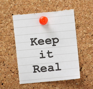 Image of note saying Keep it Real