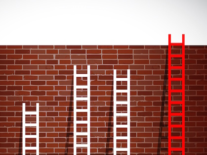 Image of ladders to climb wall