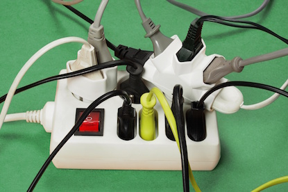 Image of Overloaded extension cord