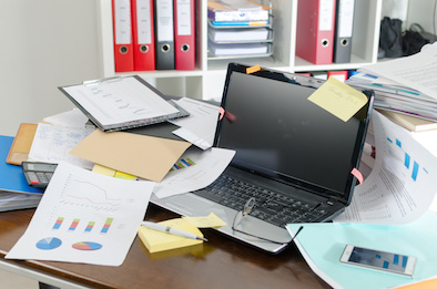 Image of cluttered desk