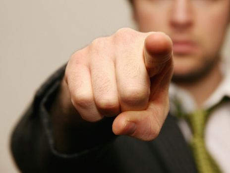 Image of a man pointing an accusing finger