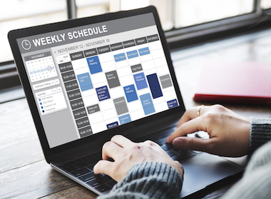 Image of Weekly Schedule on laptop