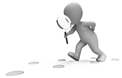 Drawing of a man investigating footprints with a magnifying glass
