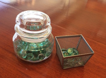 Image of a jar with glass beads inside