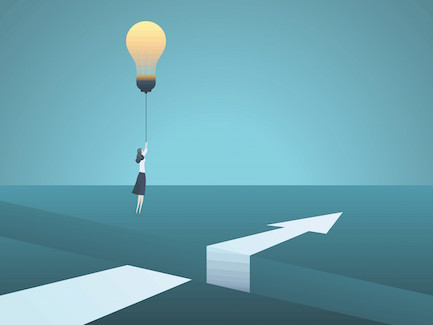 Image of a woman flying over a chasm with a light bulb idea balloon