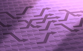 Image of rows of arrows pointing same direction, to the right, with some criss-cross over others to change lanes. Eggplant-purple arrows on mauve background.