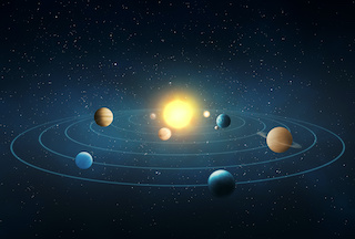 Image of our solar system with planets arrayed around the sun in order, against a dark background