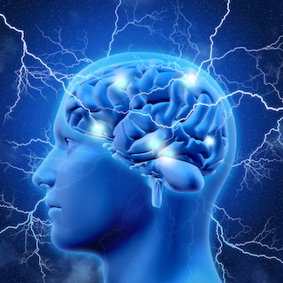 Image of 3D male head and brain with lightning bolts in background