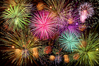 Image of beautiful fireworks show on a clear night