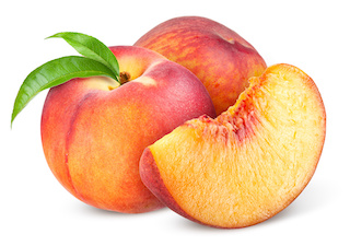 Image of two peaches (one with a couple of green leaves on its stem) and a slice of juicy-looking peach
