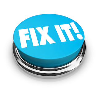 Image of a blue button with the words Fix It!