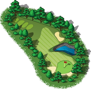 Image of colored overview drawing of a hole on a golf course with flag, water sand and tree traps