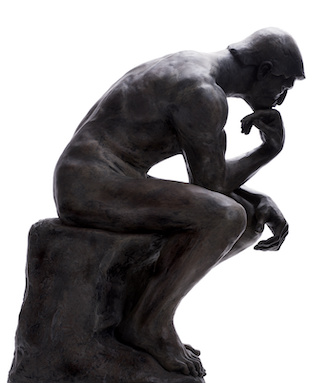 Image of side view of The Thinker by sculptor Auguste Rodin