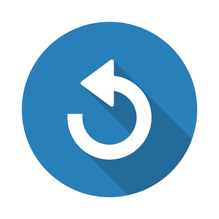 Image of Flat white Undo web icon with long drop shadow on blue circle