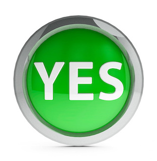 """Image of """"yes"""" 3D web button in white capital letters on green with a white background"""